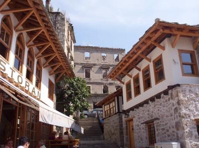 MOSTAR,  BOSNIA  HERZEGOVINA..  Restored  buildings  and  war  damaged.