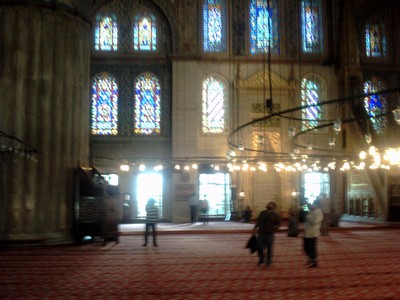 ISTANBUL  TURKEY..     Inside the Blue Mosque.