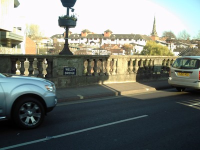 SHREWSBURY,  ENGLAND.   Welsh  Bridge. --Masonry  bridge over  river  Severn, built  1793 - 1795. ---  There is an  English  bridge  also.