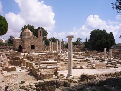 CYPRUS  PAPHOS  St  Pauls Church and St Pauls  Pillar.
