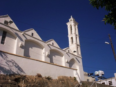 CYPRUS  KYRENIA.   --Church Archangel Michael.  Greek Orthodox  church   Built 1860 ,high bell tower built later.