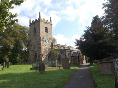 EYAM. Parish church of St Lawrence.