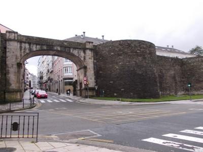 LUGO   GALICIA  SPAIN.---Modern  way  through  the  Roman  Wall.