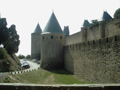CARCASSONNE  FRANCE.  The  outside  wall of the  Citadel.