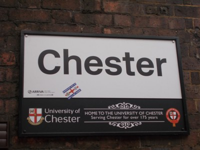 CHESTER. Sign at station.