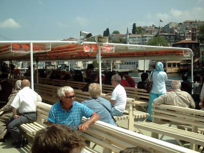ISTANBUL TURKEY.      . Relaxing on the ferry ,on the Bosphorus.