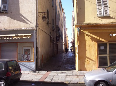 AJACCIO CORSICA.   The side street of Napoleons house.
