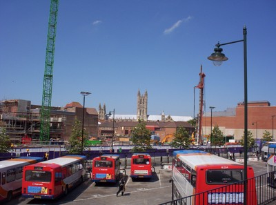 CANTERBURY  ENGLAND.   Bus  Station. with  Cathedral.