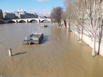 PARIS , FRANCE. River Seine in flood. 2013.