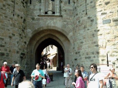 CARCASSONNE  FRANCE.   First  sight of Fortified  town.