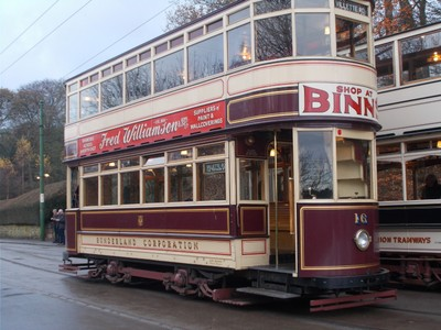 BEAMISH MUSEUM.  Sunderland Corporation tram built around 1900.