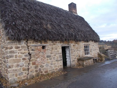 BEAMISH MUSEUM.  Joe the Quilters Cottage, from Warden near Hexham.-- A cottage industry of quilting..  Joe was murdered in 1826 and because of this crime, details are known about his life.
