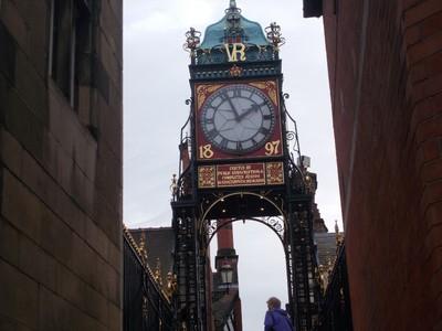 CHESTER. Victorian Eastgate clock. on city wall bridge.
