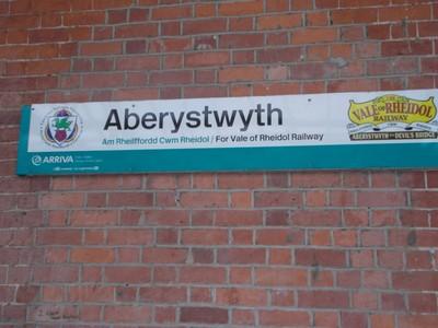 ABERYSTWYTH  WALES.Sign saying also train for Vale of Rheidol line.