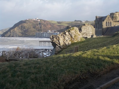 ABERYSTWYTH  WALES.  From castle hill looking towards Constitution Hill.