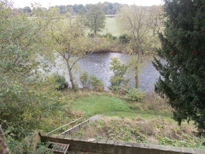 View of river Ure from inside tower.