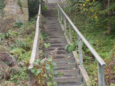 WEST TANFIELD. Steps down to river Ure.