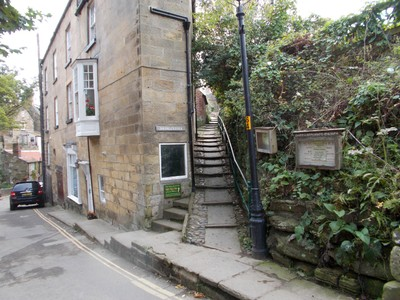 ROBIN HOODS BAY.  Steps up to cliff top walk.