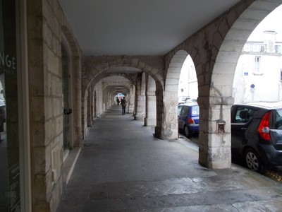 LA ROCHELLE  FRANCE.  Covered walkway by the shops.