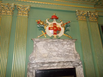 CITY OF YORK COAT OF ARMS, ABOVE FIREPLACE.