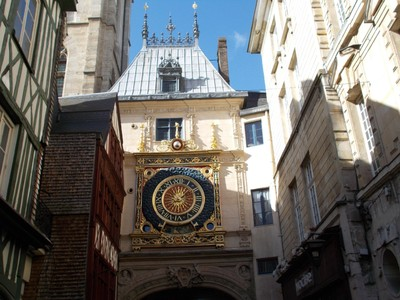 ROUEN,  FRANCE,   Astronomical Clock from 14th  century , set in a Renaissance  Arch over the  Rue Gros-Horloge.