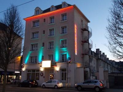 CAEN FRANCE Hotel in evening.