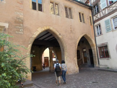COLMAR, FRANCE. From 16th century, a Nut market once held under the arcades.
