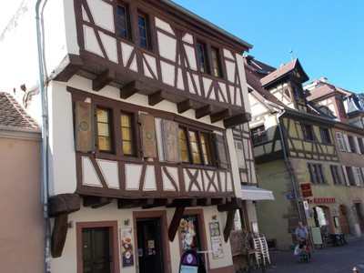 COLMAR ,FRANCE. Overhang building.