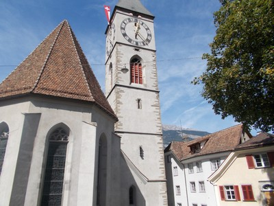 CHUR. ST. Martins church, in St. Martins square. Tower is a landmark of the city.