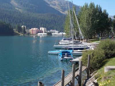 ST.MORITZ SWITZERLAND.Down by Lake St. Moritz.