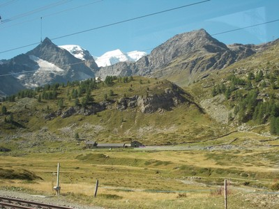 SWITZERLAND. ALPS FROM TRAIN.