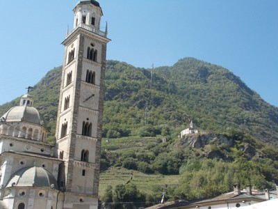 TIRANO ITALY. Basilica is at the end of a long straight road from town.
