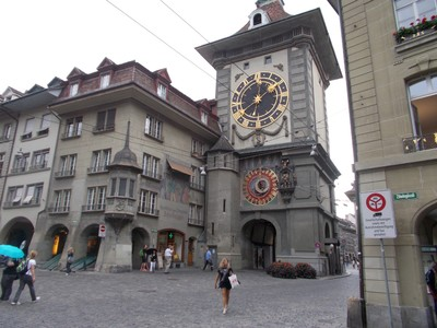 BERN,  Medieval figures appear on the clock tower at certain times.