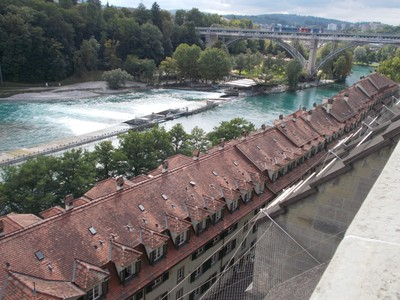 BERN, Old town by river Aare, with railway bridge.