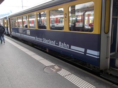 SWITZERLAND.  .Berner Oberland train at Lauterbrunnen.