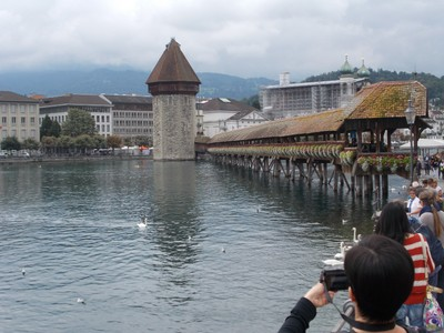LUCERNE  SWITZERLAND. -- Water Tower and Chapel Bridge.