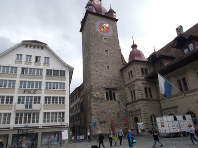 LUCERNE  SWITZERLAND..  Town Hall clock tower.  Clock installed 1525.AD.