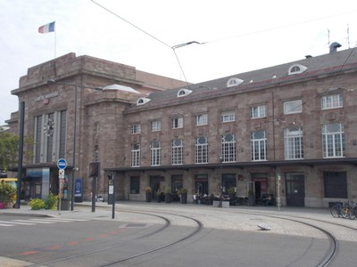 FRANCE  MULHOUSE  -- Railway  station.--Strasbourg is 100km. [62 miles