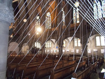 FRANCE  MULHOUSE.  St. Etienne  Cathedral.   A Display using cables.