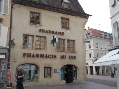 FRANCE  MULHOUSE.    -  Pharmacy at the end of Place de la Union.  Was built 15th  century.and has been a Pharmacy since middle of 17th century .Must be the oldest Chemist ?