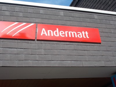 ANDERMATT  SWITZERLAND.  Train station  sign.