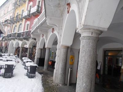 SWITZERLAND LOCARNO, Covered walkway, just what you meed when its snowing.