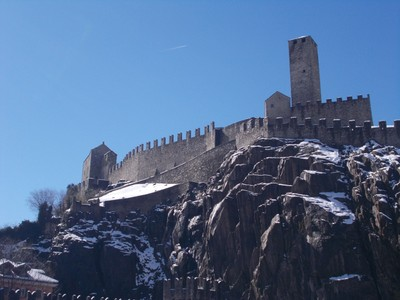 BELLINZONA  SWITZERLAND.  Castle above town.