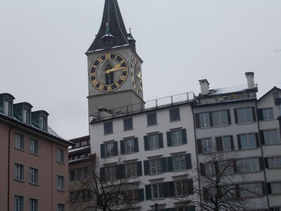 ZURICH  SWITZERLAND.   St.  Peters clock tower.
