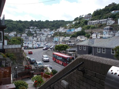 LOOE CORNWALL.View from front door of Rivercroft Hotel.