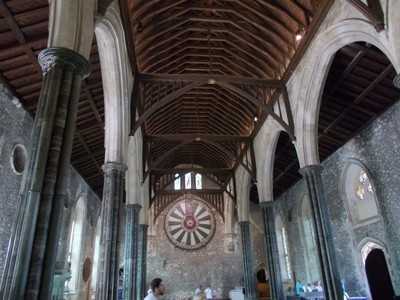 WINCHESTER GREAT HALL.  13th century . Round Table of Arthurian legend on wall.