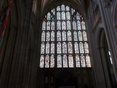 WINCHESTER CATHEDRAL WEST WINDOW.---The large West Window is made up of fragments of medieval glass  randomly put together, therefore no compete pictures The original panes were deliberately destroyed by Cromwell men in the Cival War in 1642.. r
