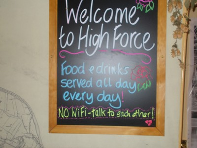 HIGH  FORCE  FALLS,  ENGLAND.   Sign in  Hotel.