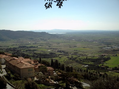 CORTONA,  ITALY. --  View  from  hilltop of  Valdichiana and  Lake  Trasimeno.