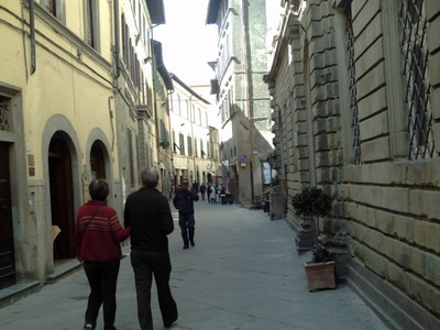 CORTONA  ITALY.  --  Via  Nationale, the  only  flat  level  street  .